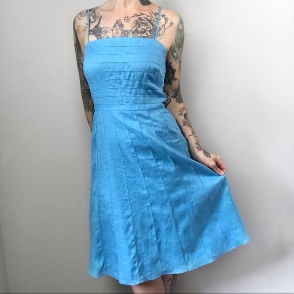 85ac3d0a34b Ann Taylor Dresses   Skirts - ANN TAYLOR Vintage Linen Blue Midi Dress